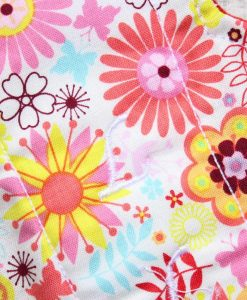 "14"" Regular Flow cloth pad | Pink and Orange Flowers Cotton | Red Wind Pro Fleece | Luna Landings | Double Flare"