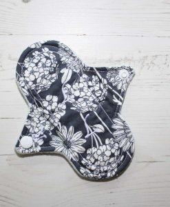 "6"" Regular Flow cloth pad | Chrysanthemums on Grey Cotton | Mint Wind Pro Fleece | Luna Landings | Sub"