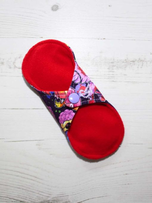 6″ Regular Flow cloth pad | Pony Apocalypse Cotton Jersey | Red Wind Pro Fleece | Luna Landings | Sub 4