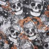 Large Skulls Orange Cotton
