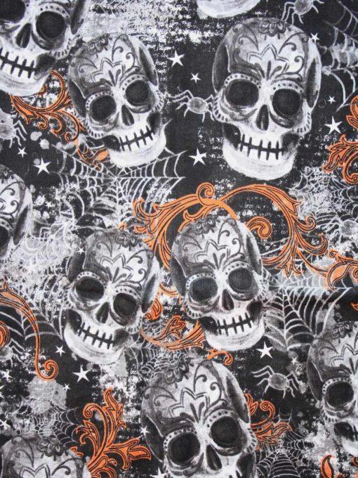 Large Skulls Orange Cotton