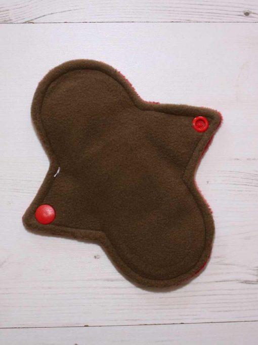 "6"" Regular Flow cloth pad | Ruby Plush | Brown Wind Pro Fleece | Luna Landings | Sub"