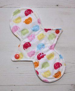 "8"" Liner cloth pad | Rainbow Elephants Cotton | Cream Wind Pro Fleece | Luna Landings | Slim Sub"