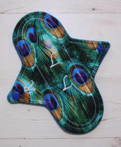 8″ Regular Flow cloth pad | Peacock Feathers Cotton | Blue Wind Pro Fleece | Luna Landings | Sub