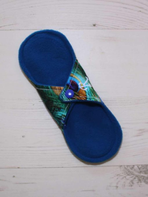 8″ Regular Flow cloth pad | Peacock Feathers Cotton | Blue Wind Pro Fleece | Luna Landings | Sub 4