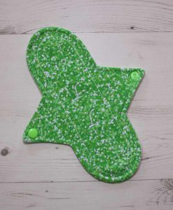 9″ Liner cloth pad | Green Glitter Cotton Jersey | Cream Wind Pro Fleece | Luna Landings | Sub 1