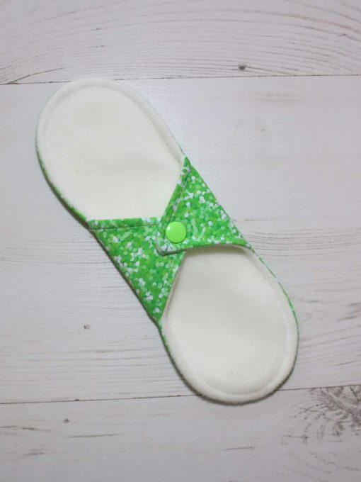 9″ Liner cloth pad | Green Glitter Cotton Jersey | Cream Wind Pro Fleece | Luna Landings | Sub 4