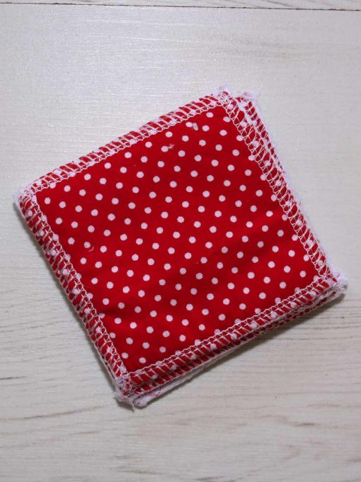 Red Polka Dot Make-up remover wipes - set of 5