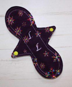 "10"" Liner cloth pad   Snowflakes on Purple Cotton Jersey   Mint Wind Pro Fleece   Luna Landings   Slim Sub"