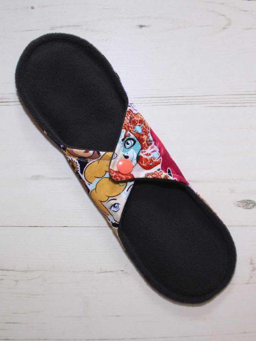"10"" Regular Flow cloth pad | Day of the Dead Princesses Cotton Jersey | Charcoal Wind Pro Fleece | Luna Landings | Sub"