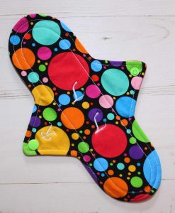 10″ Regular Flow cloth pad | Eco Dots Cotton Jersey | Red Wind Pro Fleece | Luna Landings | Sub 1