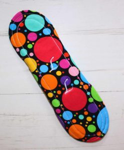 10″ Regular Flow cloth pad | Eco Dots Cotton Jersey | Red Wind Pro Fleece | Luna Landings | Sub 5