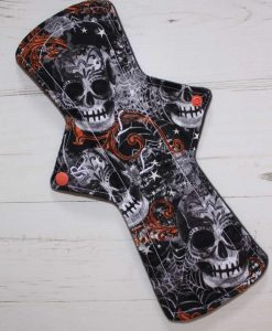 12″ Regular Flow cloth pad | Large Skulls Orange Cotton | Charcoal Wind Pro Fleece | Luna Landings | Double Flare 1