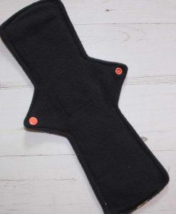 14″ Regular Flow cloth pad | Day of the Dead Princesses Cotton Jersey | Charcoal Wind Pro Fleece | Luna Landings | Double Flare 3