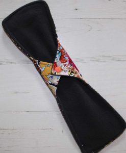 14″ Regular Flow cloth pad | Day of the Dead Princesses Cotton Jersey | Charcoal Wind Pro Fleece | Luna Landings | Double Flare 4