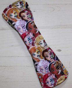 14″ Regular Flow cloth pad | Day of the Dead Princesses Cotton Jersey | Charcoal Wind Pro Fleece | Luna Landings | Double Flare 5