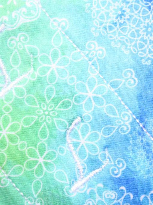 6″ Light Flow cloth pad | White Mandalay on Green and Blue Cotton Jersey | Mint Wind Pro Fleece | Luna Landings | Sub 2