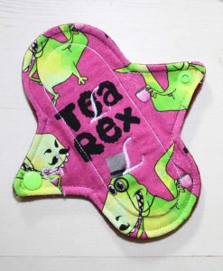 6″ Regular Flow cloth pad | Tea Rex Fuschia Cotton Jersey | Wine Wind Pro Fleece | Luna Landings | Sub 1
