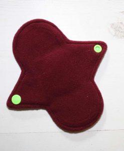 6″ Regular Flow cloth pad | Tea Rex Fuschia Cotton Jersey | Wine Wind Pro Fleece | Luna Landings | Sub 3