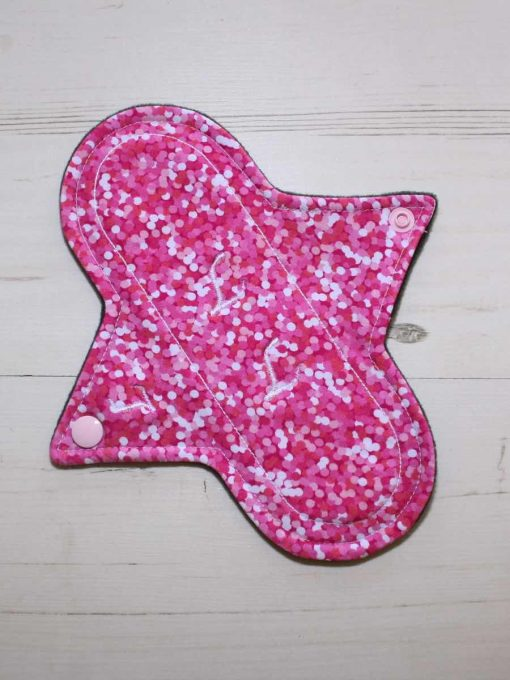8″ Light Flow cloth pad | Rose Glitter Cotton Jersey | Charcoal Wind Pro Fleece | Luna Landings | Sub 1