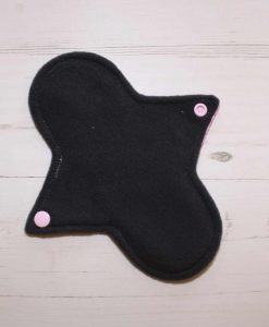 8″ Light Flow cloth pad | Rose Glitter Cotton Jersey | Charcoal Wind Pro Fleece | Luna Landings | Sub 3