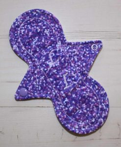 8″ Liner cloth pad | Lilac Glitter Cotton Jersey | Cream Wind Pro Fleece | Luna Landings | Slim Sub 1
