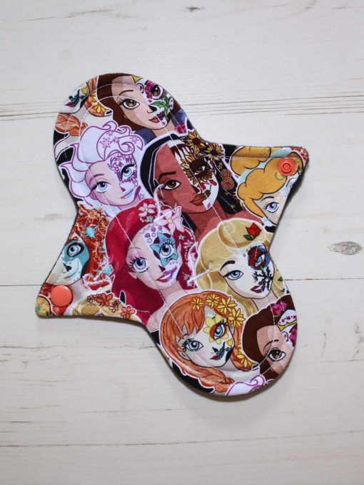 8″ Regular Flow cloth pad | Day of the Dead Princesses Cotton Jersey | Charcoal Wind Pro Fleece | Luna Landings | Sub 1