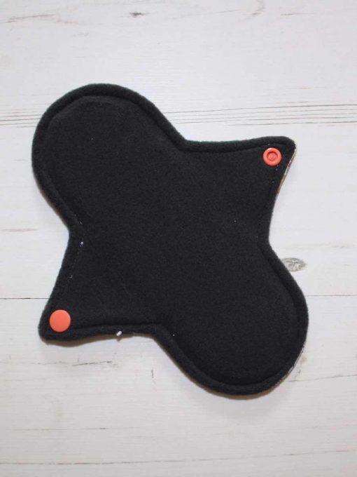 "8"" Regular Flow cloth pad | Day of the Dead Princesses Cotton Jersey | Charcoal Wind Pro Fleece | Luna Landings | Sub"