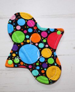 8″ Regular Flow cloth pad | Eco Dots Cotton Jersey | Red Wind Pro Fleece | Luna Landings | Sub 1