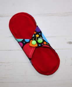 8″ Regular Flow cloth pad | Eco Dots Cotton Jersey | Red Wind Pro Fleece | Luna Landings | Sub 4