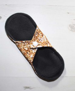8″ Regular Flow cloth pad | Gold Glitter Cotton Jersey | Charcoal Wind Pro Fleece | Luna Landings | Sub 4