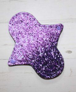 8″ Regular Flow cloth pad | Purple and Pink Ombre Glitter Cotton Jersey | Grey Wind Pro Fleece | Luna Landings | Sub 1