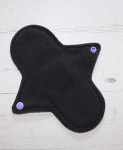 8″ Regular Flow cloth pad | Purple and Pink Ombre Glitter Cotton Jersey | Grey Wind Pro Fleece | Luna Landings | Sub