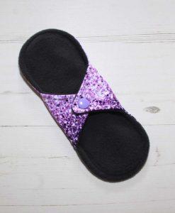 8″ Regular Flow cloth pad | Purple and Pink Ombre Glitter Cotton Jersey | Grey Wind Pro Fleece | Luna Landings | Sub 4