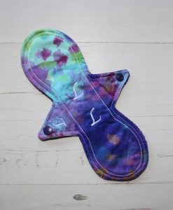 10″ Light Flow cloth pad | Aqua Purple Tie Dye Cotton | Purple Wind Pro Fleece | Luna Landings | Slim Sub 1