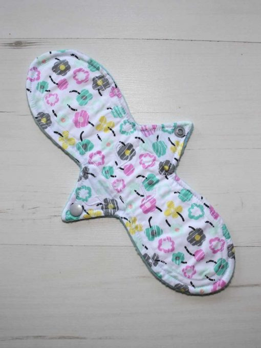 11″ Light Flow cloth pad | Flower Breeze Cotton | Aqua Polar Fleece | Luna Landings | Slim Sub