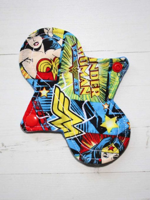 6″ Light Flow cloth pad | Wonder Woman Cotton | Blue Wind Pro Fleece | Luna Landings | Slim Sub