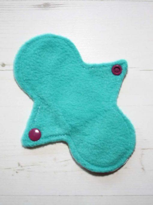 "6"" Liner cloth pad | Colourful Butterflies Aqua Cotton | Jade Polar Fleece | Luna Landings | Slim Sub"