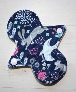 "6"" Liner cloth pad   Woodland Bunny Cotton Jersey   Cream Wind Pro Fleece   Luna Landings   Slim Sub"