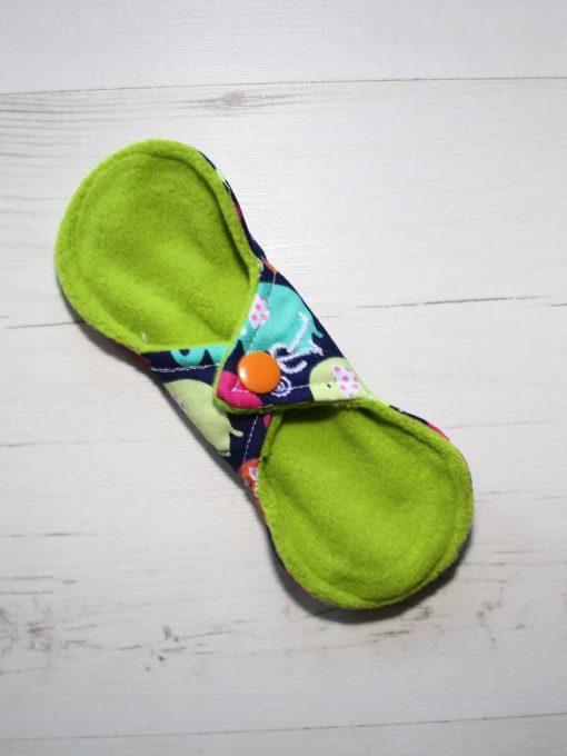 "6"" Regular Flow cloth pad | Rainbow Elephants Cotton | Lemongrass Wind Pro Fleece | Luna Landings | Slim Sub"
