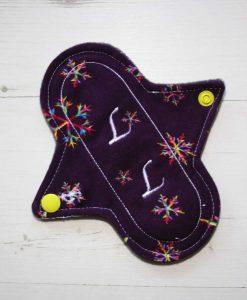 "6"" Regular Flow cloth pad | Snowflakes on Purple Cotton Jersey | Charcoal Wind Pro Fleece | Luna Landings | Sub"