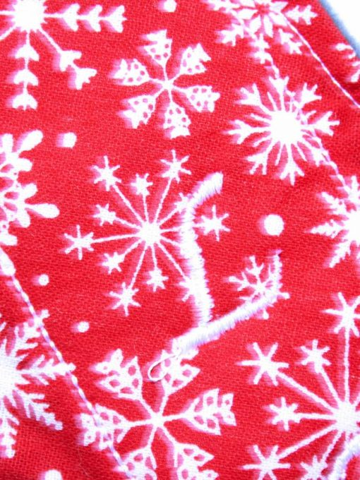 "6"" Regular Flow cloth pad | Snowflakes on Red Cotton | Charcoal Wind Pro Fleece | Luna Landings | Sub"