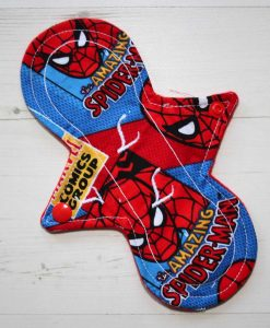 8″ Light Flow cloth pad | Amazing Spiderman Cotton | Red Wind Pro Fleece | Luna Landings | Slim Sub 1
