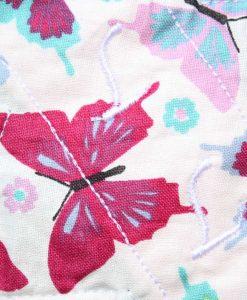 "8"" Liner cloth pad   Colourful Butterflies Aqua Cotton   Jade Polar Fleece   Luna Landings   Slim Sub"