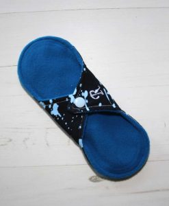8″ Regular Flow cloth pad | Blue Ink Cotton Jersey | Blue Wind Pro Fleece | Luna Landings | Sub 4