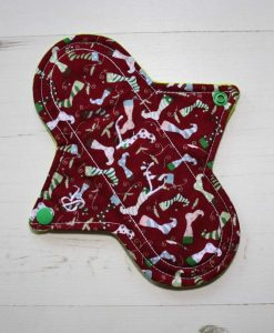 8″ Regular Flow cloth pad | Christmas Stockings Cotton | Lemongrass Wind Pro Fleece | Luna Landings | Sub 1