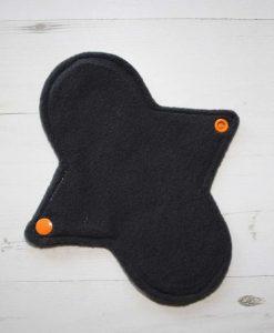 8″ Regular Flow cloth pad | Orange Ink Cotton Jersey | Charcoal Wind Pro Fleece | Luna Landings | Sub 3