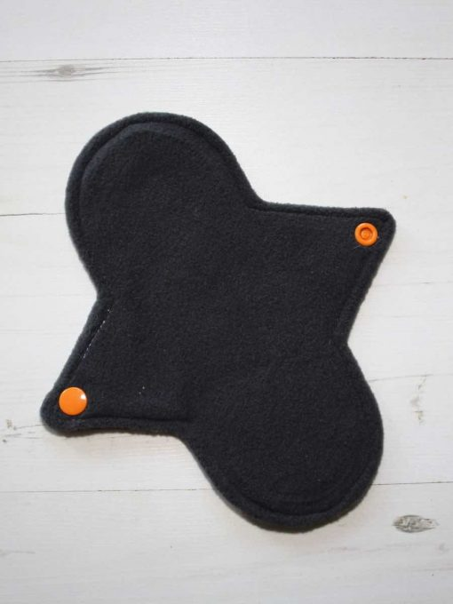 "8"" Regular Flow cloth pad   Orange Ink Cotton Jersey   Charcoal Wind Pro Fleece   Luna Landings   Sub"