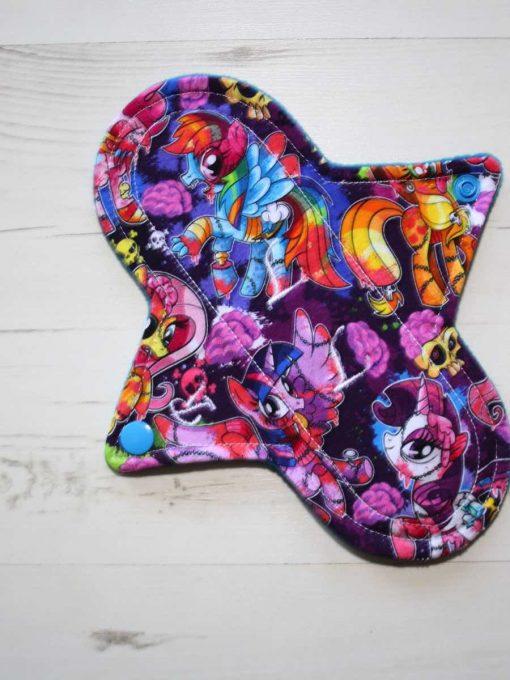"8"" Regular Flow cloth pad   Pony Apocalypse Cotton Jersey   Blue Wind Pro Fleece   Luna Landings   Sub"