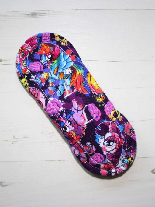 8″ Regular Flow cloth pad | Pony Apocalypse Cotton Jersey | Blue Wind Pro Fleece | Luna Landings | Sub 5